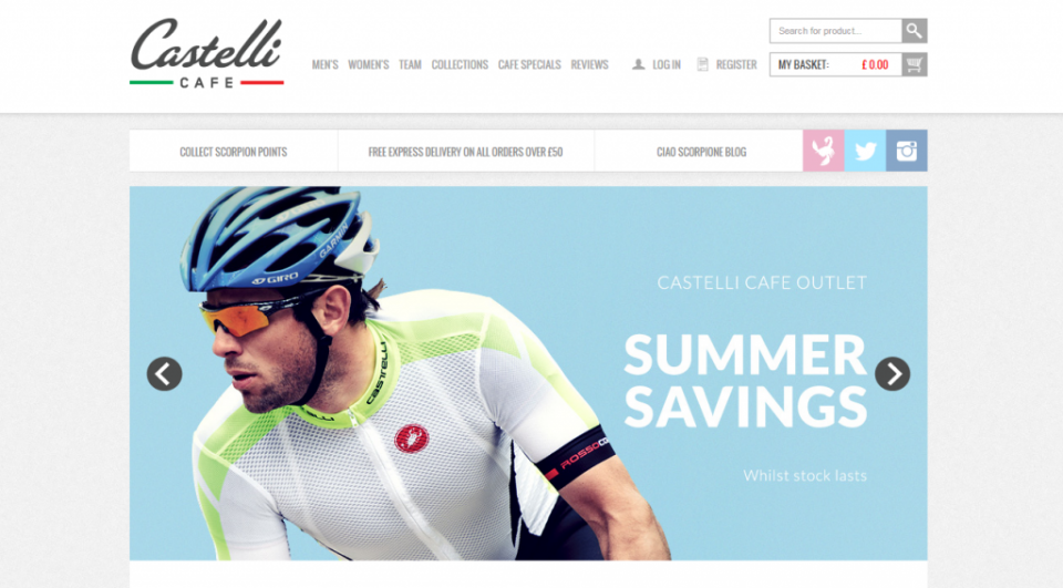Screenshot of Castelli Cafe website with summer savings promotion
